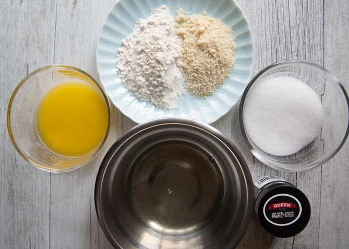 Ingredients to make Cigarette Butter Cookies.