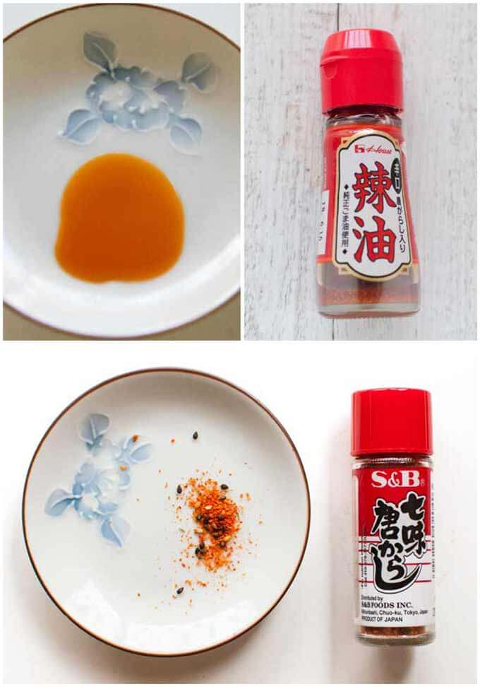 Rāyu and Shichimi bottles and contents.