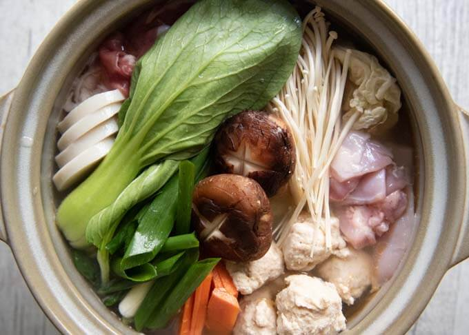 Top-down photo of Chanko Nabe before heating up.