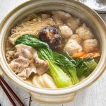 Chanko Nabe cooked in a large clay pot.