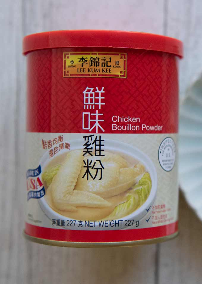 Showing the container of the Lee Kum Kee brand Asian chicken buillon.