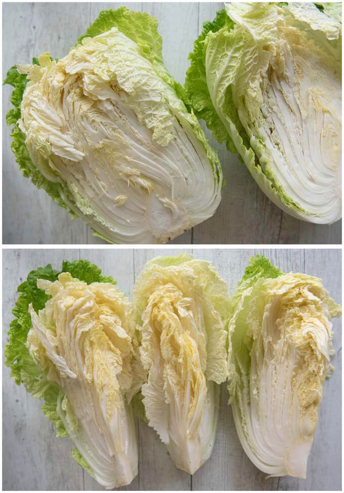 Showing how to cut a whole Chinese cabbage for pickling.