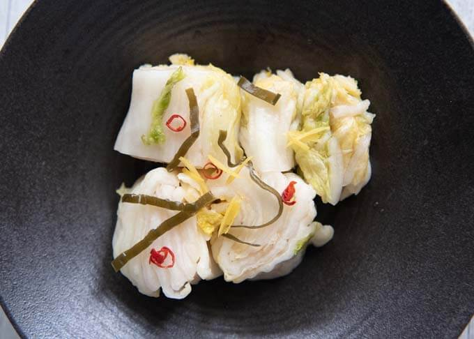 Top-down view of Pickled Nappa Cabbage in a serving bowl.