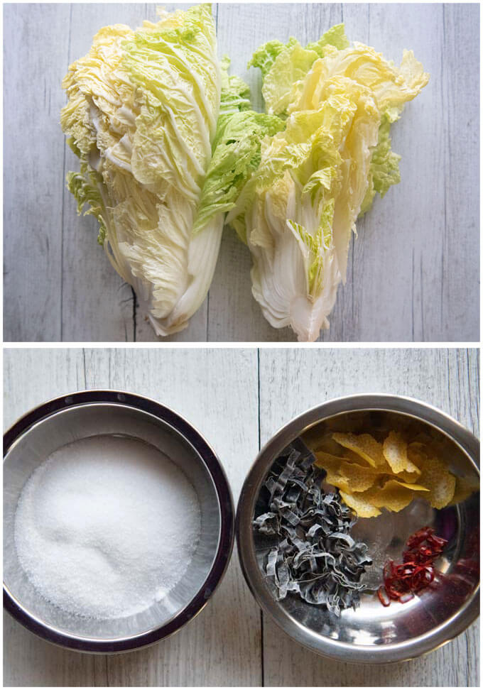 Ingredients for Pickled Nappa Cabbage.