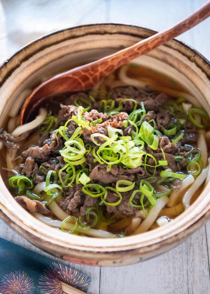 Hero shot of Beef Udon (Niku Udon) in a serving bowl.