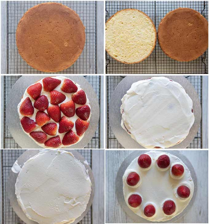 Step-by-step photo of decoration a sponge cake with cream and strawberries.
