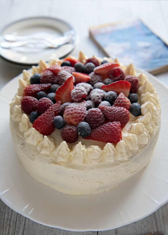 Shortcake with mixed berries on top.