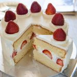 Hero shot of Japanese Strawberry Sponge Cake (Strawberry Shortcake).