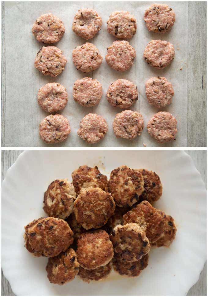 Pork patties - shaped to small discs , ready to cook and cooked patties.