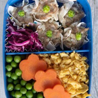 To-down view of Shumai Bento