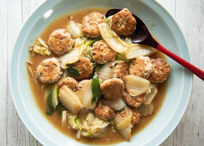 Top-down photo of Simmered Pork Patties and Chinese Cabbage.