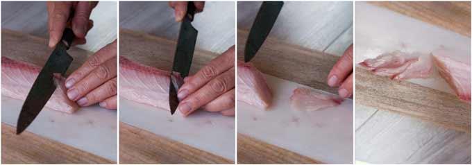 Step-by-step photo of sogi-giri slice of sashimi.