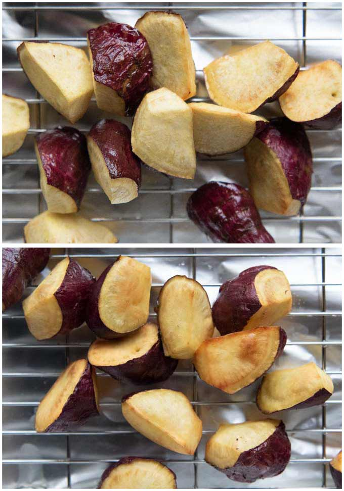 Deep-fried sweet potatoes - after first fry and wecond fry.