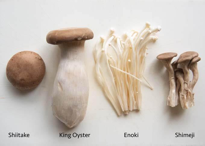 4 kinds of Asian mushrooms.