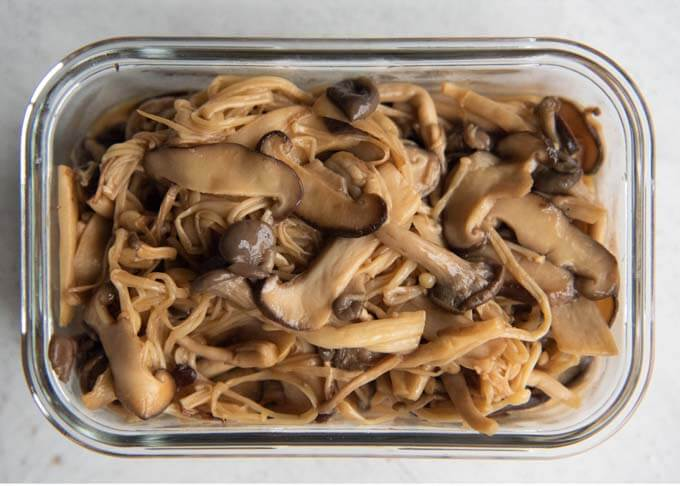 Top-down photo of Easy Marinated Mushrooms.